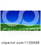 Clipart Of A 3d Grassy Burm Hill Against A Deep Blue Sky Royalty Free CGI Illustration