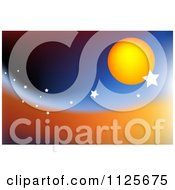 Clipart Of A Sun And Stars On A Wave Royalty Free CGI Illustration