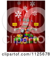 Clipart Of A 3d Red Robot Holding Merry X Mas Signs Over Gift Boxes On Red With Snowflakes Royalty Free CGI Illustration by stockillustrations
