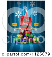 Clipart Of A 3d Red Robot Holding Merry X Mas Signs Over Gift Boxes On Blue With Snowflakes Royalty Free CGI Illustration