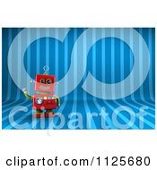 Clipart Of A 3d Friendly Red Robot Waving Over Blue Stripes Royalty Free CGI Illustration by stockillustrations