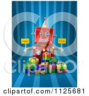 Clipart Of A 3d Red Robot Holding Happy Bday Signs Over Gift Boxes On Blue Stripes Royalty Free CGI Illustration