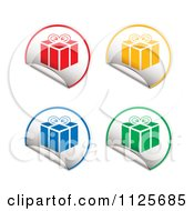 Clipart Of Round Colorful Present Gift Box Stickers With Peeling Edges Royalty Free Vector Illustration