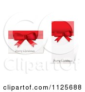 Clipart Of Merry Christmas Greetings On Cards With Red Ribbons And Bows Royalty Free Vector Illustration by michaeltravers