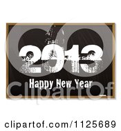Clipart Of A Black Board With Grungy 2013 Happy New Year In Chalk Royalty Free Vector Illustration by michaeltravers