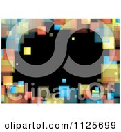 Clipart Of A Background Of A Border Of Colorful Squares On Black Royalty Free Vector Illustration