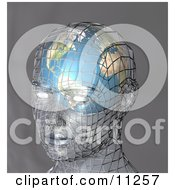 Futuristic Human Head With A Globe Inside The Brain Clipart Illustration by AtStockIllustration