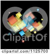 Clipart Of A Background Of Colorful Squares On Black 1 Royalty Free Vector Illustration by michaeltravers