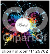 Colorful Paint Splatter On Black With Sample Text