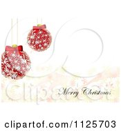 Clipart Of A Merry Christmas Greeting With Diamond Baubles And Snowflakes Royalty Free Vector Illustration by michaeltravers