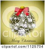 Clipart Of A Merry Christmas Greeting Under A Diamond Bauble On Gold Royalty Free Vector Illustration by michaeltravers