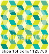 Clipart Of A Seamless Green And Yellow Cube Background Pattern Royalty Free Vector Illustration by michaeltravers