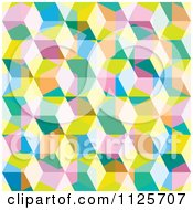Clipart Of A Seamless Colorful Eighties Cube Background Pattern Royalty Free Vector Illustration