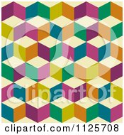 Clipart Of A Seamless Colorful Cube Background Pattern Royalty Free Vector Illustration