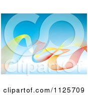 Clipart Of A Background Of Colorful Mesh Rainbow Waves Over Blue Royalty Free Vector Illustration