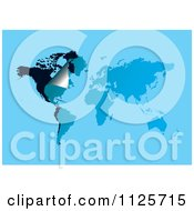 Clipart Of A Peeling Corner On A Blue And Black World Map Royalty Free Vector Illustration by michaeltravers