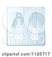 Clipart Of A Blue Shared Gender Restroom Sign Royalty Free Vector Illustration by michaeltravers