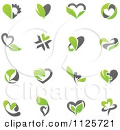 Green And Gray Organic Heart Love Icons