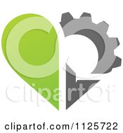 Clipart Of A Green And Gray Organic Heart And Gear Or Flower Royalty Free Vector Illustration