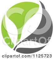 Clipart Of A Green And Gray Organic Leaves Royalty Free Vector Illustration