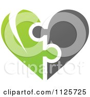Clipart Of A Green And Gray Organic Heart Puzzle Royalty Free Vector Illustration