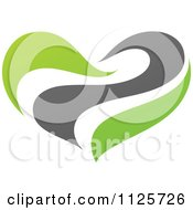 Clipart Of A Green And Gray Organic Heart 2 Royalty Free Vector Illustration
