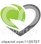 Clipart Of A Green And Gray Organic Heart And Leaf 3 Royalty Free Vector Illustration by elena