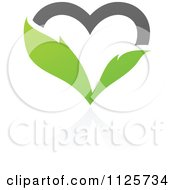 Clipart Of A Green And Gray Organic Leaf Heart With A Reflection Royalty Free Vector Illustration