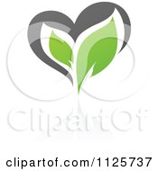 Clipart Of A Green And Gray Organic Heart And Leaf With A Reflection 5 Royalty Free Vector Illustration by elena