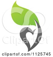 Clipart Of A Green And Gray Organic Heart And Leaf 4 Royalty Free Vector Illustration by elena
