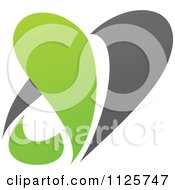 Clipart Of A Green And Gray Organic Heart And Leaf 2 Royalty Free Vector Illustration
