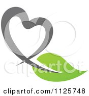 Clipart Of A Green And Gray Organic Heart And Leaf 1 Royalty Free Vector Illustration