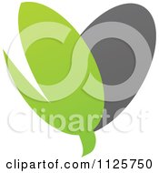 Clipart Of A Green And Gray Organic Sprout Heart Royalty Free Vector Illustration