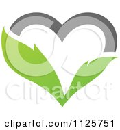 Clipart Of A Green And Gray Organic Leaf Heart Royalty Free Vector Illustration