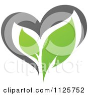Clipart Of A Green And Gray Organic Heart And Leaf 5 Royalty Free Vector Illustration