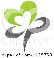 Clipart Of A Green And Gray Organic Heart Flower Royalty Free Vector Illustration