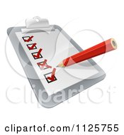 Clipart Of A 3d Pencil Checking Off Boxes On A Clipboard Poll Royalty Free Vector Illustration by AtStockIllustration