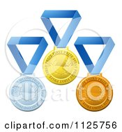 Clipart Of 3d Gold Silver And Bronze Prize Medals On Blue Ribbons Royalty Free Vector Illustration by AtStockIllustration
