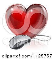 Clipart Of A 3d Red Glass Heart And Computer Mouse Royalty Free Vector Illustration