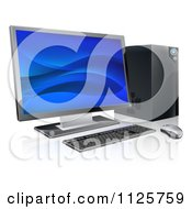 Clipart Of A 3d Desktop Personal Computer Work Station Royalty Free Vector Illustration by AtStockIllustration