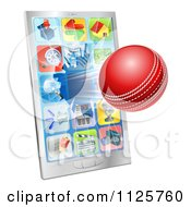 Clipart Of A 3d Cricket Ball Flying Through And Breaking A Cell Phone Screen Royalty Free Vector Illustration