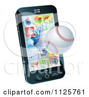 Clipart Of A 3d Baseball Flying Through And Breaking A Cell Phone Screen Royalty Free Vector Illustration