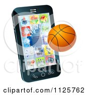 Clipart Of A 3d Baseketball Flying Through And Breaking A Cell Phone Screen Royalty Free Vector Illustration