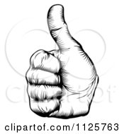 Clipart Of A Black And White Woodcut Thumb Up Hand Royalty Free Vector Illustration