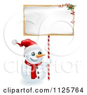 Clipart Of A Happy Snowman Wearing A Santa Hat And Holding A Christmas Sign Royalty Free Vector Illustration by AtStockIllustration