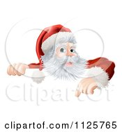 Clipart Of A Happy Santa Claus Pointing Down At A Christmas Sign Royalty Free Vector Illustration