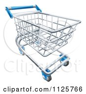 Clipart Of A 3d Store Shopping Cart Royalty Free Vector Illustration