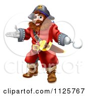 Clipart Of A Happy Presenting Male Pirate With A Hook Hand Royalty Free Vector Illustration
