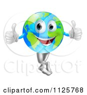 Happy Globe Mascot Holding Two Thumbs Up