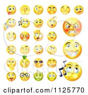 Yellow Emoticon Faces With Different Expressions